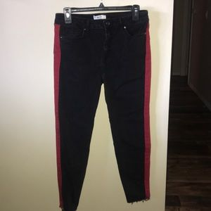 Forever 21 Black Skinny Jeans with a Red Accent